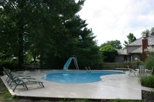 Pool deck with fresh surface